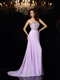 A-Line/Princess Sweetheart Sleeveless Beading Chiffon Floor-Length Dresses – Evening Dress ...
