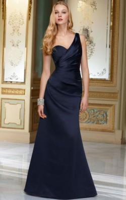 Beautiful Long Dark Navy Tailor Made Evening Prom Dress (LFNAF0046) cheap online-MarieProm UK