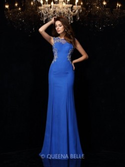 Sheath/Column Scoop Sleeveless Beading Sweep/Brush Train Chiffon Dresses – Evening Dresses ...