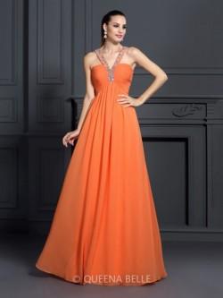 A-Line/Princess Halter Sleeveless Beading Floor-Length Chiffon Dresses – Prom Dresses &#82 ...