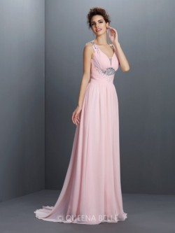 A-Line/Princess Straps Sleeveless Beading Sweep/Brush Train Chiffon Dresses – Prom Dresses ...