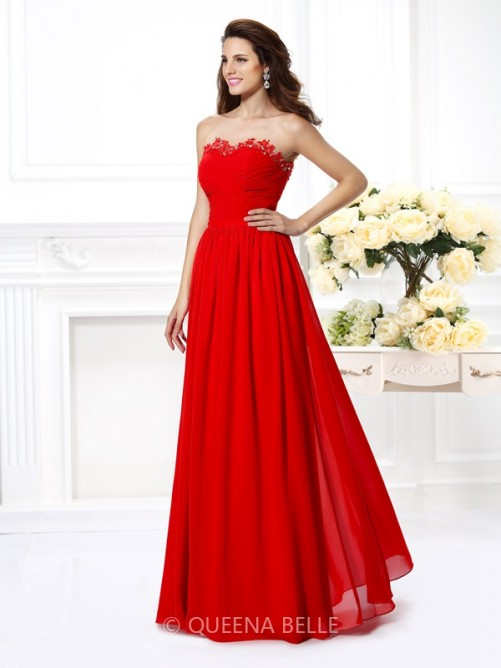 A-Line/Princess Sweetheart Sleeveless Beading Floor-Length Chiffon Dresses – Prom Dresses  ...