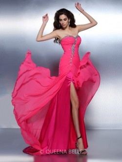 A-Line/Princess Sweetheart Sleeveless Beading Sweep/Brush Train Chiffon Dresses – Prom Dre ...