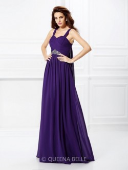 A-Line/Princess Sweetheart Sleeveless Pleats Beading Floor-Length Chiffon Dresses – Prom D ...