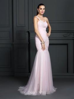 Trumpet/Mermaid One-Shoulder Sleeveless Sweep/Brush Train Satin Dresses – Prom Dresses &#8 ...