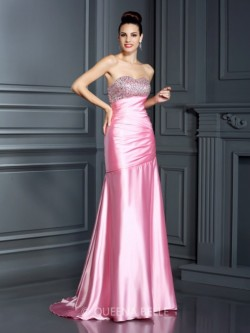Trumpet/Mermaid Sweetheart Sleeveless Beading Sweep/Brush Train Elastic Woven Satin Dresses &#82 ...