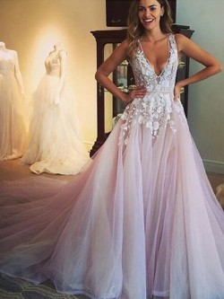 Princess V-neck Tulle Appliques Lace Court Train Open Back Amazing Formal Dresses – formal ...