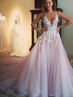 Princess V-neck Tulle Appliques Lace Court Train Open Back Amazing Formal Dresses – formal ...