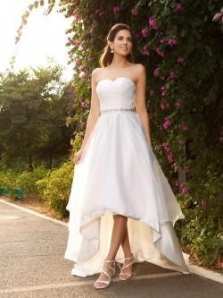 A-Linien-/Princess-Stil Herzausschnitt Asymmetrisch Organza Hochzeitskleid mit Perlenstickereien