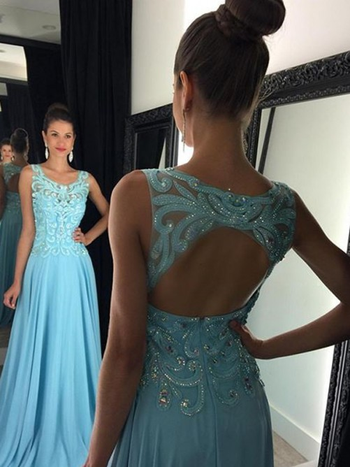 Princess-Linie U-Ausschnitt Ärmellos Bodenlang Applikationen Chiffon Kleider – VickyDress