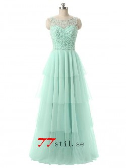 Tulle blotta halsen beading lång kväll klänningar balklänning med layered kjol – TTstil.se