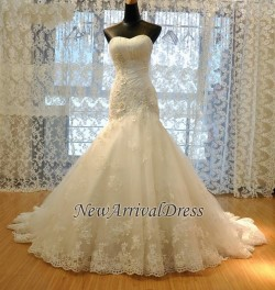 Beading Ruched Mermaid Back Flowers Lace Lace-Up Sweetheart-Neck Wedding Dresses_Trumpet/ Mermai ...