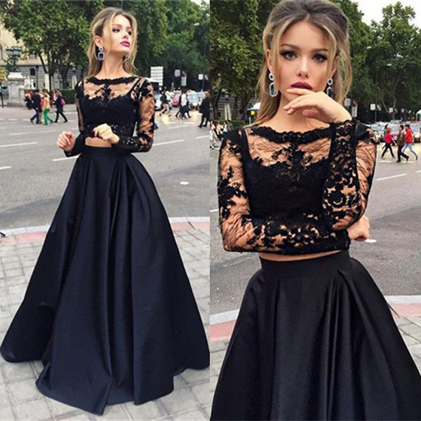 Modern Two Piece Black Lace A-line Long Sleeve Prom Dress_Prom Dresses 2017_Prom Dresses_Special ...
