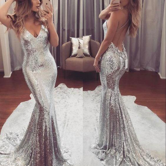 Backless Sequins V-Neck Gorgeous Mermaid Prom Dress_Prom Dresses 2017_Prom Dresses_Special Occas ...