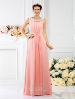 Bateau-Ausschnitt Perlen verziert Bodenlang Chiffon Brautjungfernkleider – MissyDress