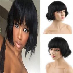 Short Human Hair Wigs with Bangs Brazilian Human Hair Short Bob Wig for Women (Black)