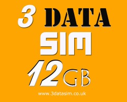 three 12gb data preloaded sim card