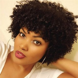 Short Kinky Curly Human Hair Wigs 100% Human Hair Wig Natural Looking Short Afro Kinky Curly Wig ...