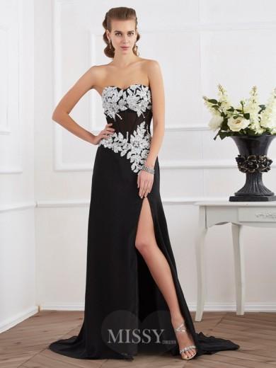 Etui-Linie Herzausschnitt Perlen verziert Applikationen Chiffon Abendkleider – MissyDress