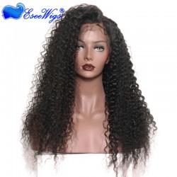 Black Full Lace Wigs With Baby Hair Virgin Hair Brazilian Deep Curl Hair 100% Human Hair