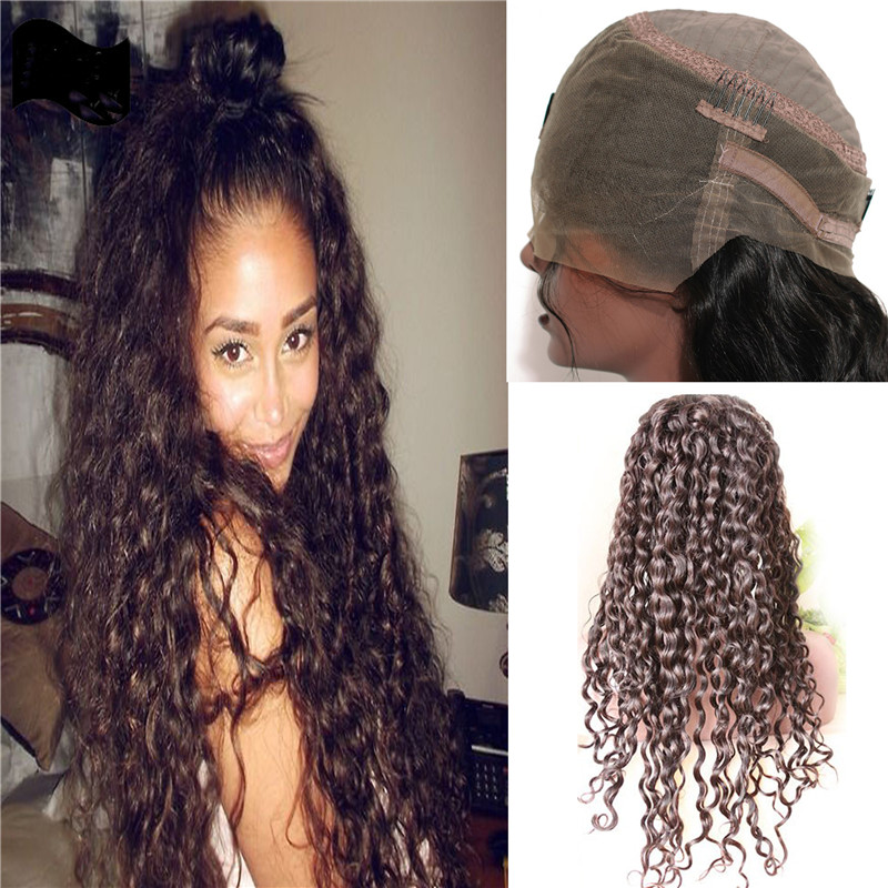 360 Lace Frontal Wig 180% Density Loose Curly Wave Dark Brown Hair Color Brazilian Virgin Remy H ...