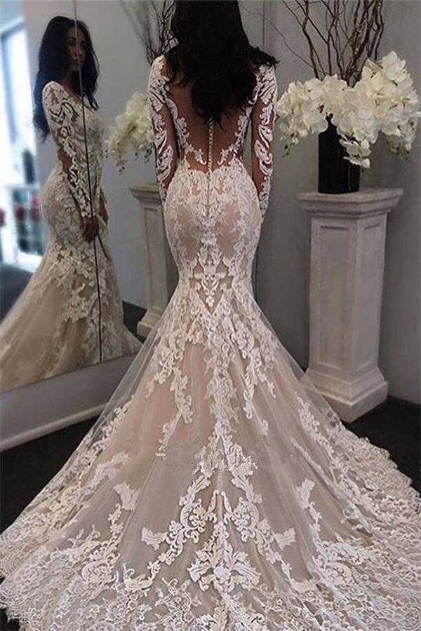Lace Illusion Long-Sleeve Sheer-Tulle Gorgeous Retro Mermaid Wedding Dress_Mermaid Wedding Dress ...
