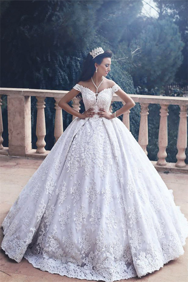 Lace Luxurious Princess Appliques Off-The-Shoulder Ball-Gown Wedding Dress_Ball Gown Wedding Dre ...