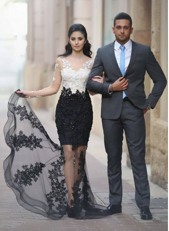 Lace-Appliques Sheer Mermaid Long-Sleeves Beading White-Black Prom Dresses_Prom Dresses_Special  ...