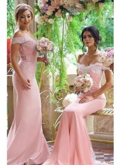 2017 Pink Mermaid Bridesmaid Dresses Off the Shoulder Lace Appliques Elegant Maid of the Honor D ...
