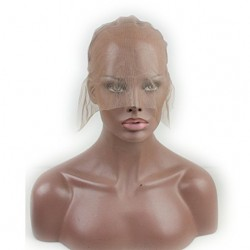 Full Lace Wig Cap for Making Wigs Swiss Lace Medium Brown Color for Wig Making (Full Lace Cap wi ...