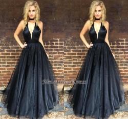 Black Newest A-line Floor-length V-neck Sleeveless Prom Dress_Prom Dresses 2017_Prom Dresses_Spe ...