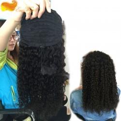 Ponytail Wrap Hair Extension Natural Black Hair Clip In ponytail 7A Brazilian Virgin Hair water wave
