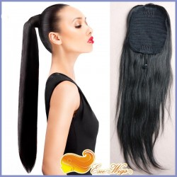 7A Brazilian Virgin Hair Long Straight Ponytail Wrap Hair Extension Natural Black Hair Clip In p ...