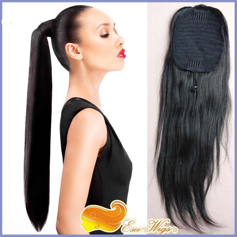 7A Brazilian Virgin Hair Long Straight Ponytail Wrap Hair Extension Natural Black Hair Clip In p ...