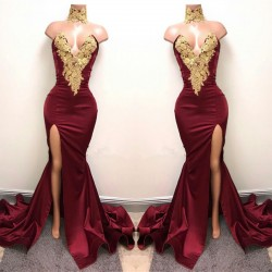 Lace Appliques Mermaid Burgundy Evening Gown 2017 Front Split High Neck Sexy Prom Dress BA5998_P ...
