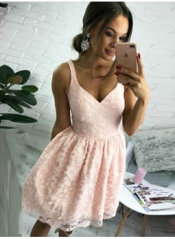 Cute Pink Lace Straps Sleeveless Short Homecoming Dress_Homecoming Dresses_Special Occasion Dres ...