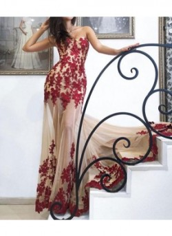 Red Sweetheart Neck Lace Tulle Long Prom Dress/Red Evening Dress