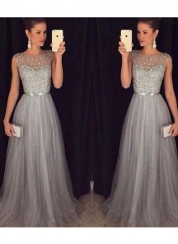 A-Line Round Neck Tulle Sequin Long Prom Dress For Teens/Unique Evening Dress