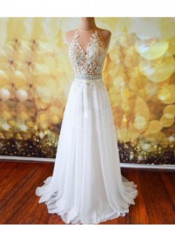 White A-Line Lace Long Prom Dresses/Evening Dresses