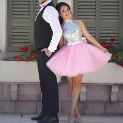 Halter Shiny Silver Sequins Short Homecoming Dresses 2017 Pink Tulle Cheap Hoco Dresses Online_N ...