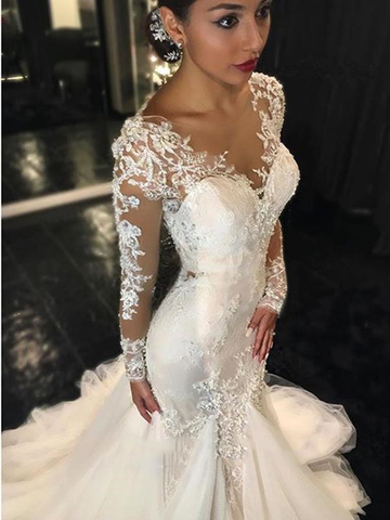 ashion Weiß Hochzeitskleider Lang Ärmel Spitze Meerjungfrau Brautkleider Brautmoden