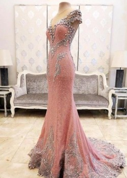 2017 Pink Mermaid Crystals Evening Dress Beading Luxurious Formal Dresses_Evening Dresses_2017 S ...