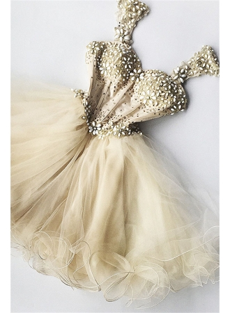 Beaded Flowers Champagne Homecoming Dresses 2017 cheap Organza Short Appliques Hoco Dress_2017 H ...