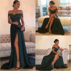 2017 Elegant Long Split Floor-Length Off-the-Shoulder Lace Evening Dress_Evening Dresses 2017_Ev ...