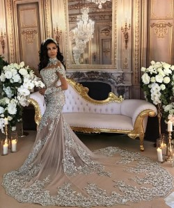 2017 High-Neck Lace Long-Sleeve Mermaid Luxury Silver Wedding Dresses_Trumpet/ Mermaid Wedding D ...