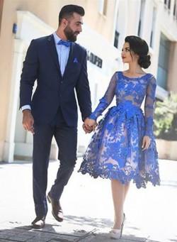 Royal Blau Kurze Cocktailkleider Lang Ärmel Spitze Abendkleider Partykleider