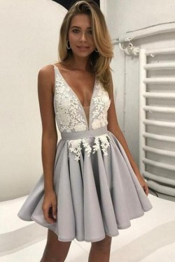 Sexy V-Neck Appliques Short Homecoming Dresses 2017 A-Line Appliques Cocktail Dress BA6972_2017  ...