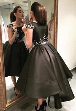 Günstige Abendkleider Schwarz Kurz Kristal Abendmoden Abiballkleider