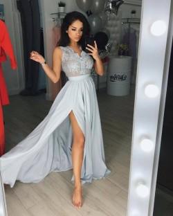 Silber Abendkleider Lang Günstig Mit Spitze Abendmoden Online