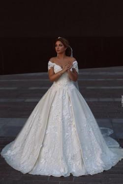 Designer Weiße Brautkleider Mit Spitze Schuterfrei A Line Brautmoden Hochzeitskleider Online